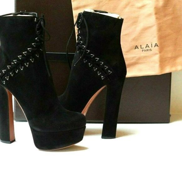 ce999557f6c Alaia Shoes | Black Suede Platform Ankle Boots Booties | Poshmark